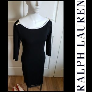 Ralph Lauren dress black white career work Med